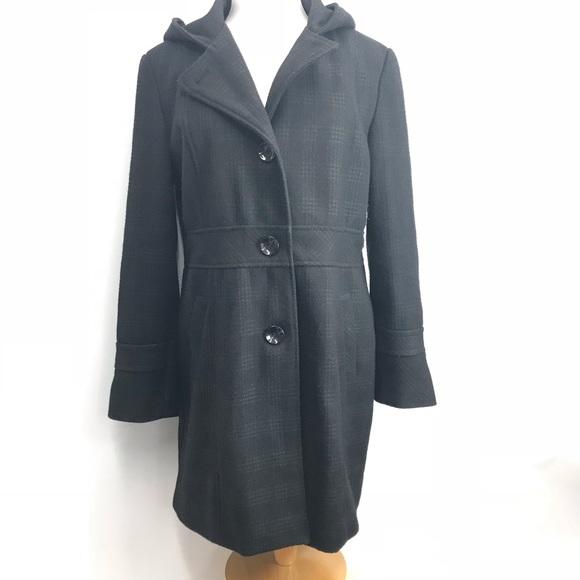 b4667f66fa8 Esprit Jackets   Blazers - Esprit Wool Blend Dress Coat Hooded Drk Grey  Plaid
